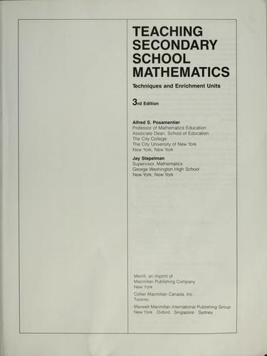 Download Teaching secondary school mathematics