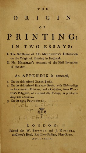 The origin of printing