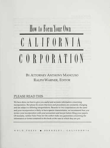 Download How to form your own California corporation