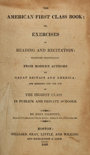 The American first class book by Pierpont, John