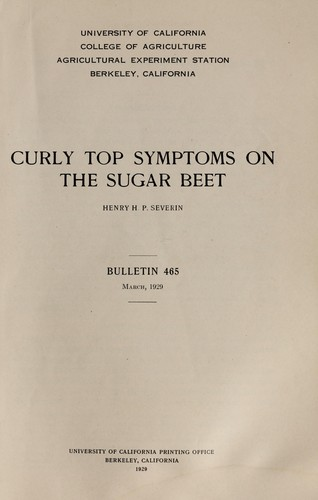 Curly top symptoms on the sugar beet by Henry H. P. Severin