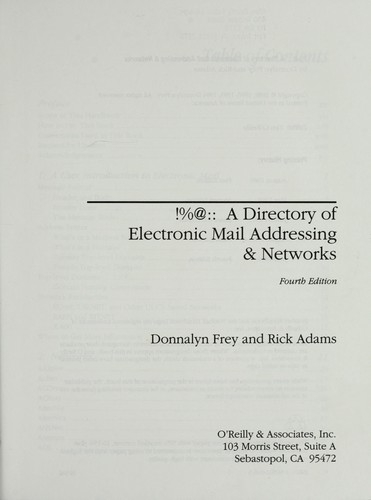 !%@:: a directory of electronic mail addressing & networks by Donnalyn Frey