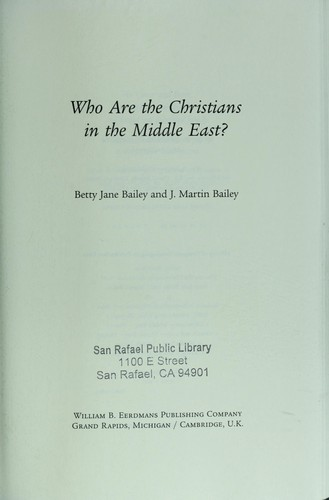 Who are the Christians in the Middle East? by